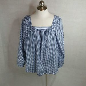 J Crew Size 14 Tall Gingham Square Neck Top